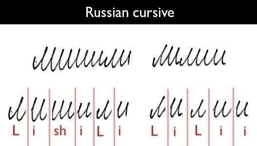 example of Russian cursive